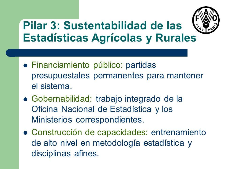 Pilar 3: Sustentabilidad de las Estadísticas Agrícolas y Rurales Financiamiento público: partidas presupuestales permanentes para mantener el sistema.