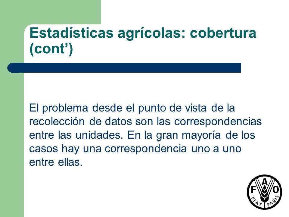 Estadísticas agrícolas: cobertura (cont) El problema desde el punto de vista de la recolección de datos son las correspondencias entre las unidades. E