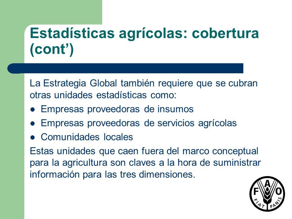 Estadísticas agrícolas: cobertura (cont) La Estrategia Global también requiere que se cubran otras unidades estadísticas como: Empresas proveedoras de