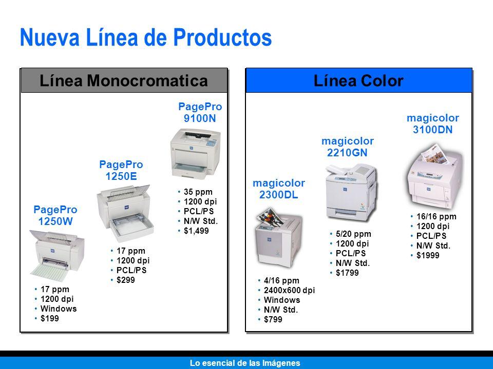 Lo esencial de las Imágenes Nueva Línea de Productos PagePro 1250W 17 ppm 1200 dpi Windows $199 PagePro 1250E 17 ppm 1200 dpi PCL/PS $299 PagePro 9100