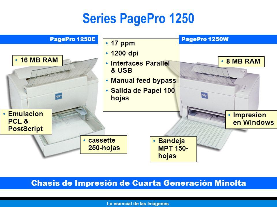 Lo esencial de las Imágenes Series PagePro 1250 Bandeja MPT 150- hojas cassette 250-hojas Impresion en Windows Emulacion PCL & PostScript 8 MB RAM 16