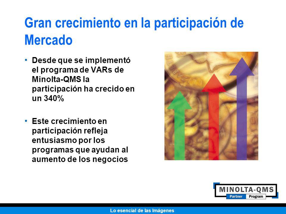 Lo esencial de las Imágenes Gran crecimiento en la participación de Mercado Desde que se implementó el programa de VARs de Minolta-QMS la participació