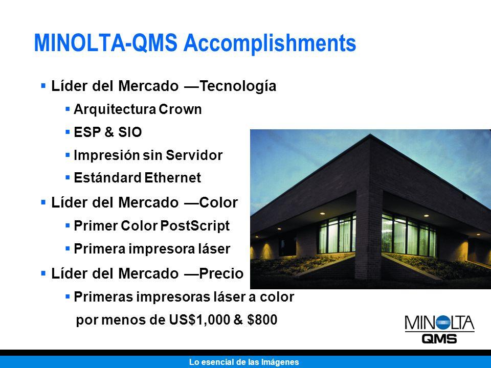 Lo esencial de las Imágenes MINOLTA-QMS Accomplishments Líder del Mercado Tecnología Arquitectura Crown ESP & SIO Impresión sin Servidor Estándard Eth