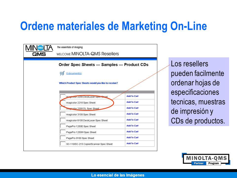 Lo esencial de las Imágenes Ordene materiales de Marketing On-Line Los resellers pueden facilmente ordenar hojas de especificaciones tecnicas, muestra
