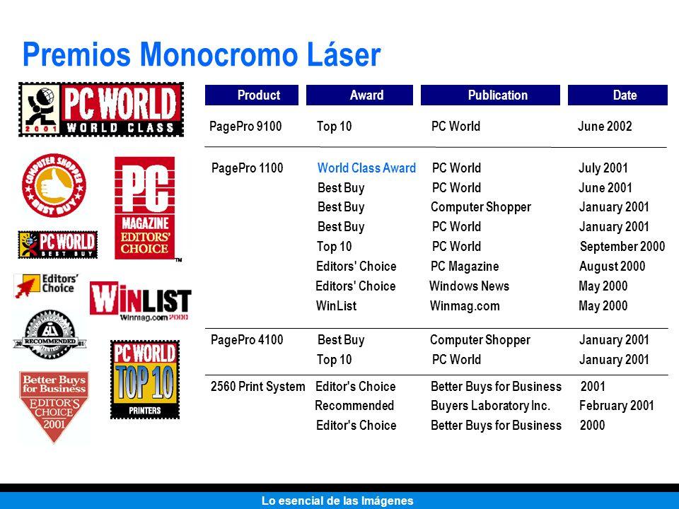 Lo esencial de las Imágenes Premios Monocromo Láser ProductAwardPublicationDate PagePro 1100World Class AwardPC WorldJuly 2001 Best BuyPC WorldJune 20