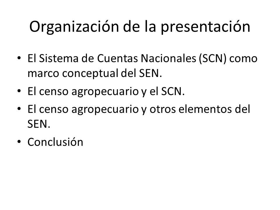Organización de la presentación El Sistema de Cuentas Nacionales (SCN) como marco conceptual del SEN. El censo agropecuario y el SCN. El censo agropec
