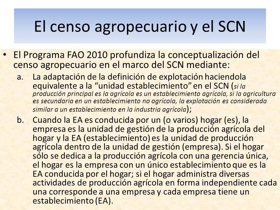 El censo agropecuario y el SCN El Programa FAO 2010 profundiza la conceptualización del censo agropecuario en el marco del SCN mediante: a.La adaptaci