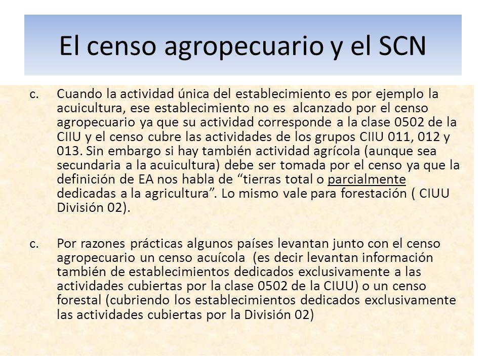 El censo agropecuario y el SCN c.Cuando la actividad única del establecimiento es por ejemplo la acuicultura, ese establecimiento no es alcanzado por