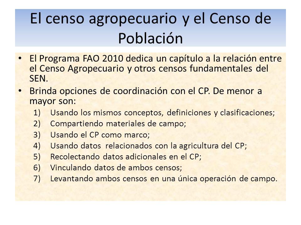 El censo agropecuario y el Censo de Población El Programa FAO 2010 dedica un capítulo a la relación entre el Censo Agropecuario y otros censos fundame
