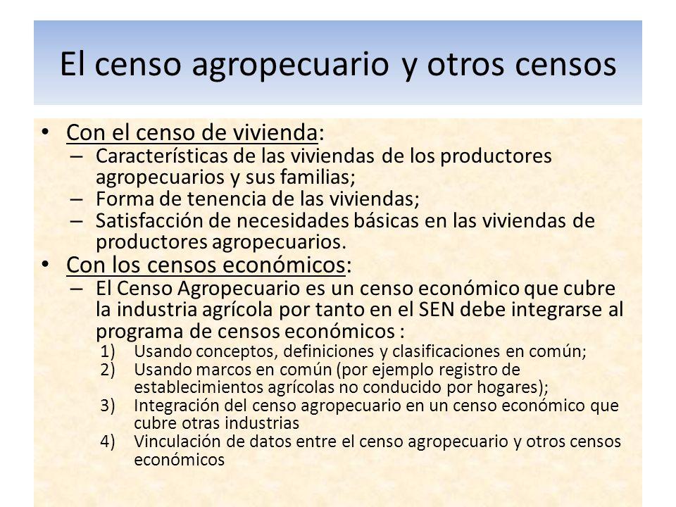 El censo agropecuario y otros censos Con el censo de vivienda: – Características de las viviendas de los productores agropecuarios y sus familias; – F