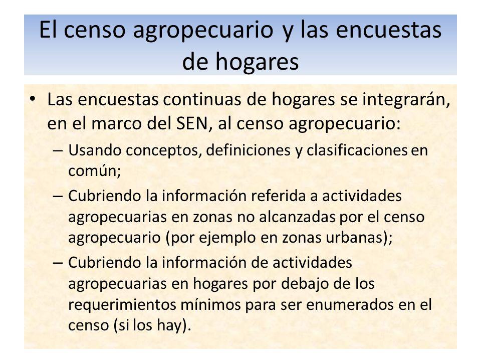 El censo agropecuario y las encuestas de hogares Las encuestas continuas de hogares se integrarán, en el marco del SEN, al censo agropecuario: – Usand