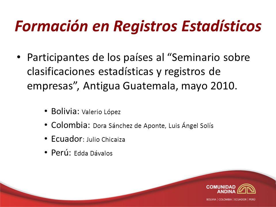 Formación en Registros Estadísticos 1)Curso sobre registros administrativos, realizado en Bogotá, marzo 2011, Eurostat - EFTA 2)Primer Taller sobre estadísticas basadas en Registros, realizado en México, abril 2011, INEGI - BID 3)Curso sobre el Sistema de Registros Estadísticos, realizado en La Paz, febrero 2012, CAN 2 expertos de cada PP.MM 4)Segundo Taller sobre estadísticas basadas en Registros, realizado en México, junio 2012, INEGI - BID