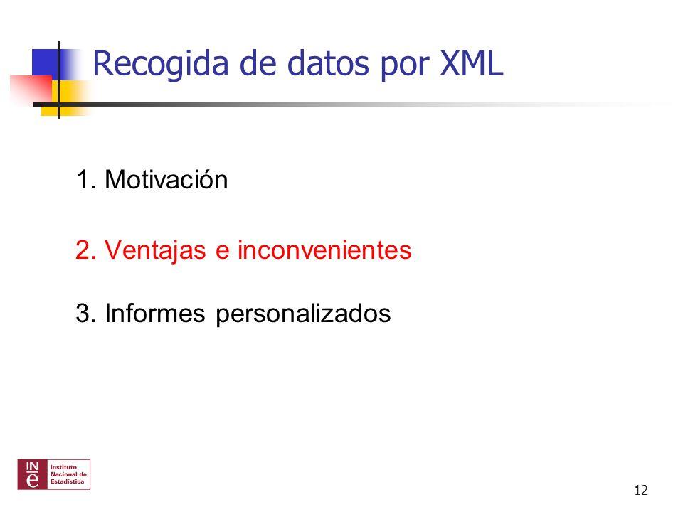 Recogida de datos por XML 1. Motivación 2. Ventajas e inconvenientes 3. Informes personalizados 12