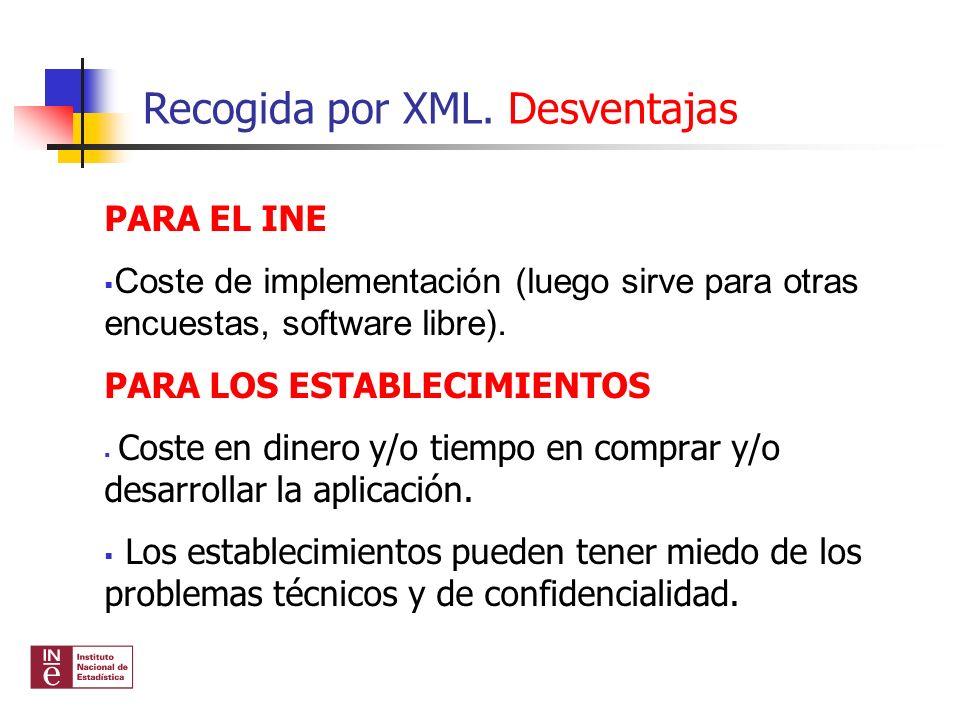 Recogida por XML. Desventajas PARA EL INE Coste de implementación (luego sirve para otras encuestas, software libre). PARA LOS ESTABLECIMIENTOS Coste