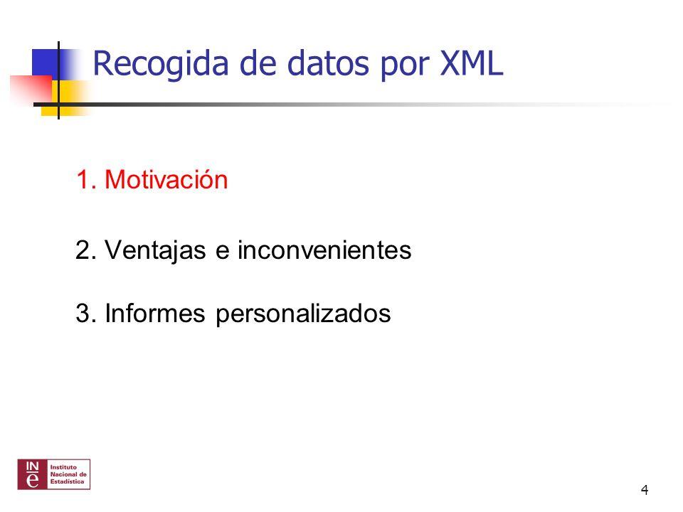 Recogida de datos por XML 1. Motivación 2. Ventajas e inconvenientes 3. Informes personalizados 4