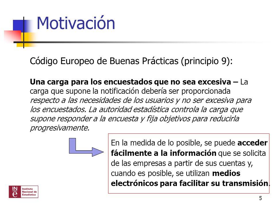 Motivación Código Europeo de Buenas Prácticas (principio 9): Una carga para los encuestados que no sea excesiva – La carga que supone la notificación
