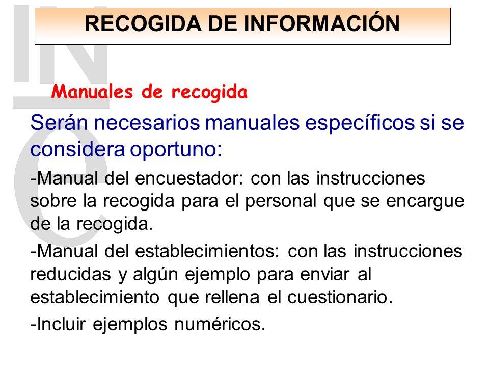 Subdirección General de Estadísticas de Empresas. Serán necesarios manuales específicos si se considera oportuno: -Manual del encuestador: con las ins