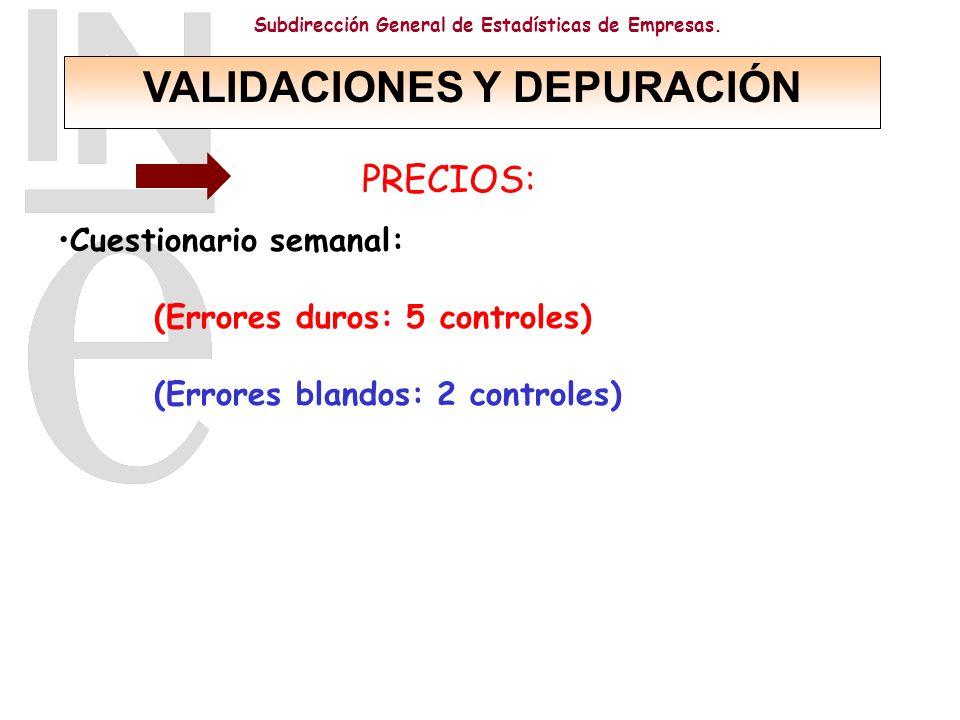 Subdirección General de Estadísticas de Empresas. PRECIOS: Cuestionario semanal: (Errores duros: 5 controles) (Errores blandos: 2 controles) VALIDACIO