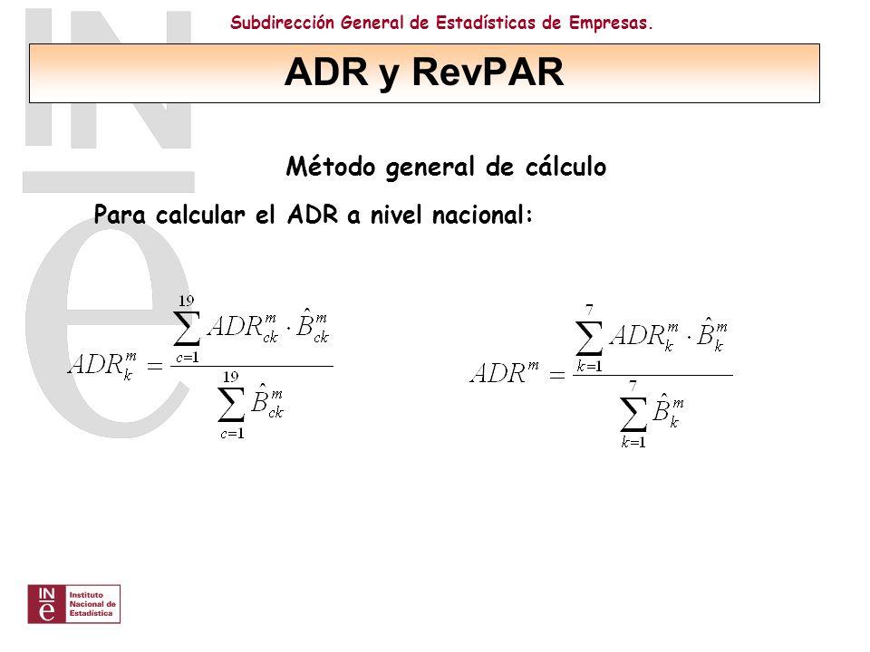 Subdirección General de Estadísticas de Empresas. Método general de cálculo Para calcular el ADR a nivel nacional: ADR y RevPAR
