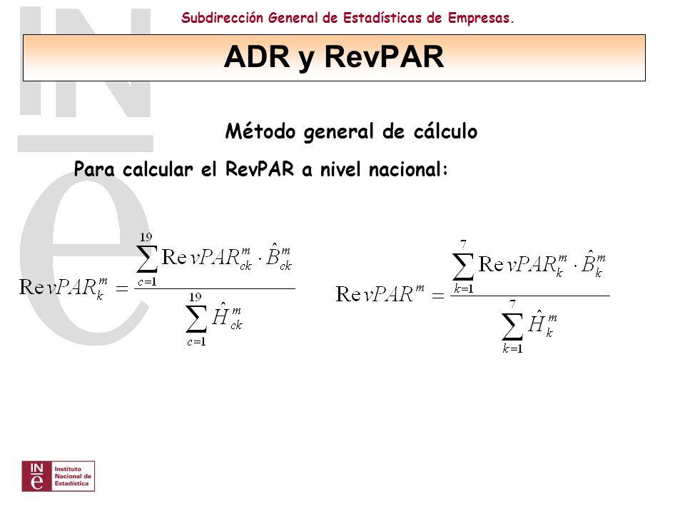 Subdirección General de Estadísticas de Empresas. Método general de cálculo Para calcular el RevPAR a nivel nacional: ADR y RevPAR