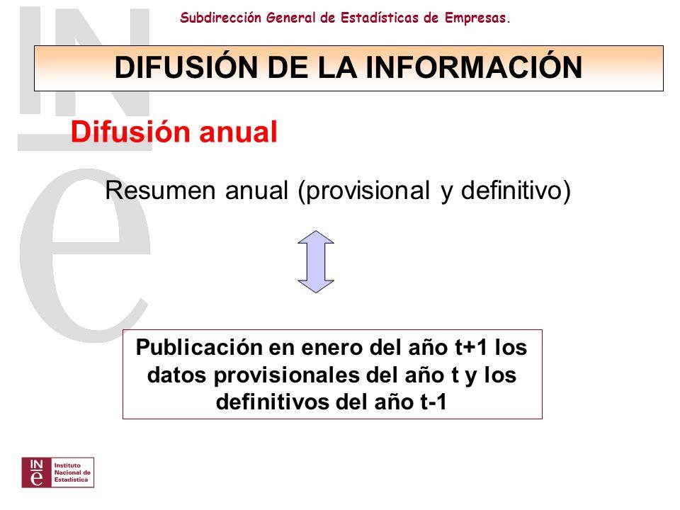 Subdirección General de Estadísticas de Empresas. Resumen anual (provisional y definitivo) Publicación en enero del año t+1 los datos provisionales de