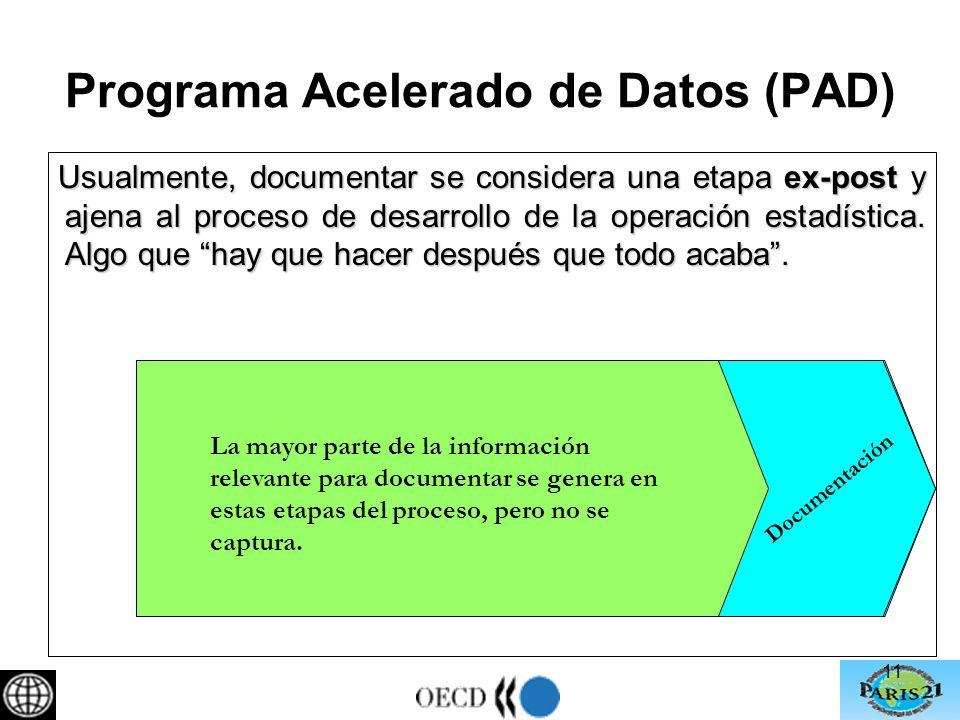 11 Programa Acelerado de Datos (PAD) Usualmente, documentar se considera una etapa ex-post y ajena al proceso de desarrollo de la operación estadística.