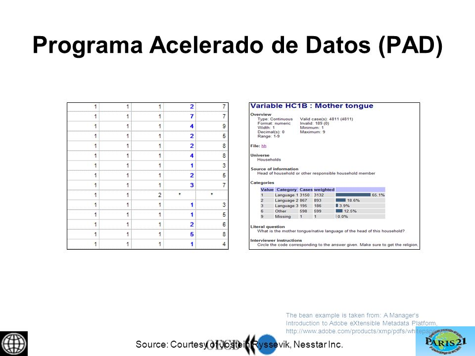 Programa Acelerado de Datos (PAD) The bean example is taken from: A Managers Introduction to Adobe eXtensible Metadata Platform, http://www.adobe.com/products/xmp/pdfs/whitepaper.pdf Source: Courtesy of Jostein Ryssevik, Nesstar Inc.