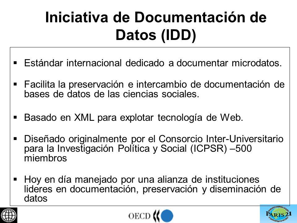 Iniciativa de Documentación de Datos (IDD) Estándar internacional dedicado a documentar microdatos.