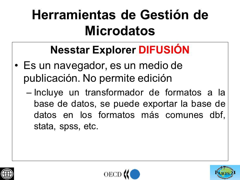 Herramientas de Gestión de Microdatos Nesstar Explorer DIFUSIÓN Es un navegador, es un medio de publicación.