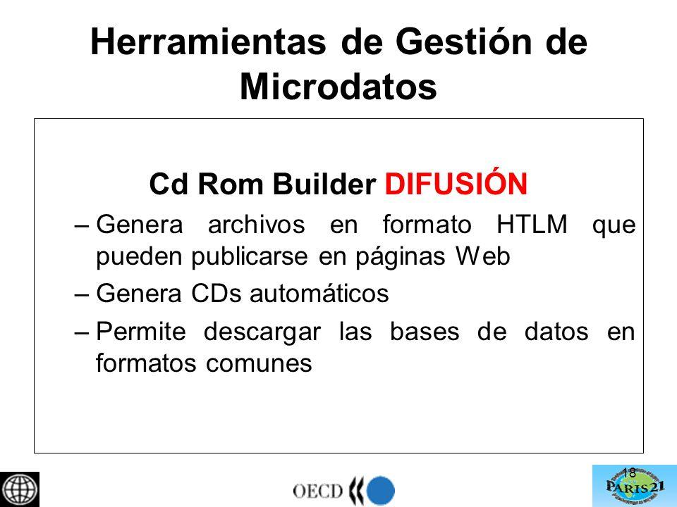 Herramientas de Gestión de Microdatos Cd Rom Builder DIFUSIÓN –Genera archivos en formato HTLM que pueden publicarse en páginas Web –Genera CDs automáticos –Permite descargar las bases de datos en formatos comunes 18