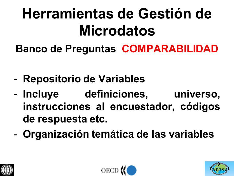 Herramientas de Gestión de Microdatos Banco de Preguntas COMPARABILIDAD -Repositorio de Variables -Incluye definiciones, universo, instrucciones al encuestador, códigos de respuesta etc.