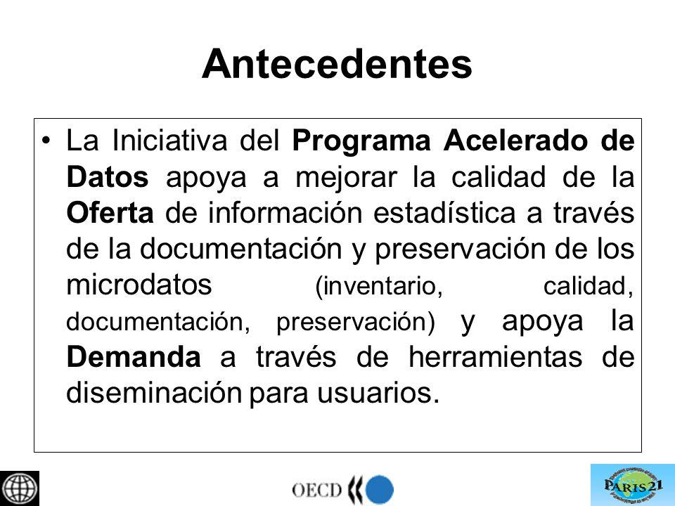 Antecedentes La Iniciativa del Programa Acelerado de Datos apoya a mejorar la calidad de la Oferta de información estadística a través de la documentación y preservación de los microdatos (inventario, calidad, documentación, preservación) y apoya la Demanda a través de herramientas de diseminación para usuarios.