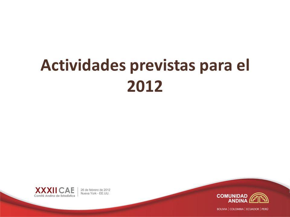 Actividades previstas para el 2012