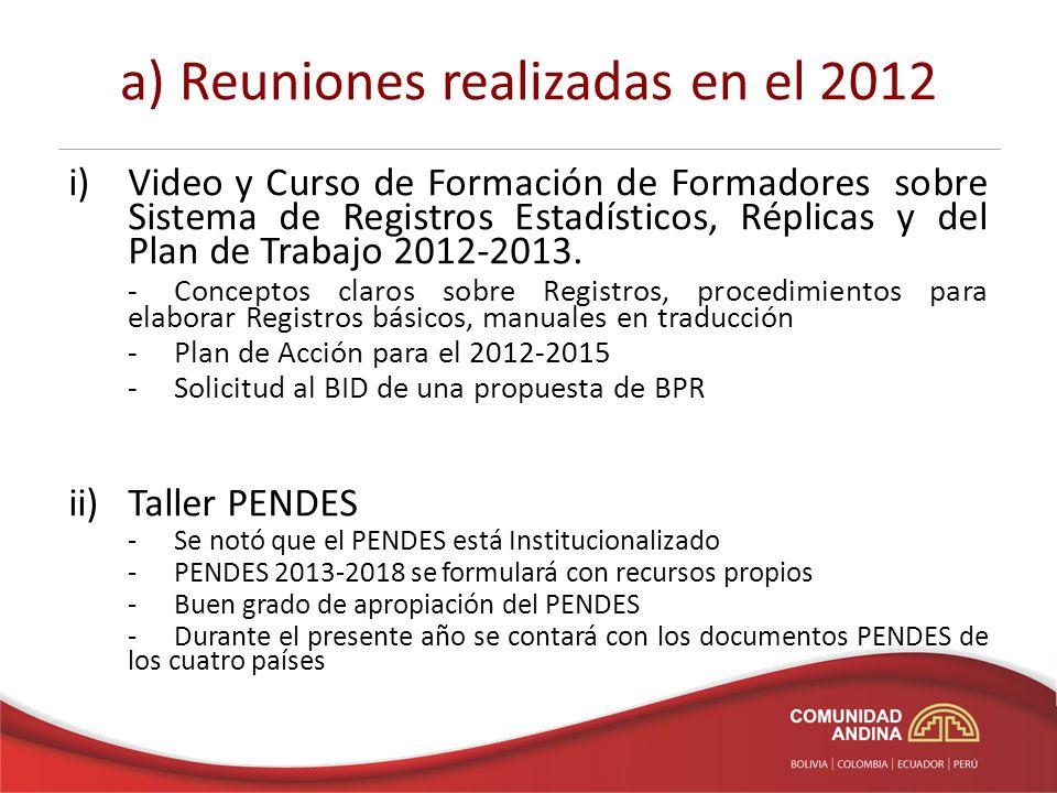 a) Reuniones realizadas en el 2012 i)Video y Curso de Formación de Formadores sobre Sistema de Registros Estadísticos, Réplicas y del Plan de Trabajo 2012-2013.