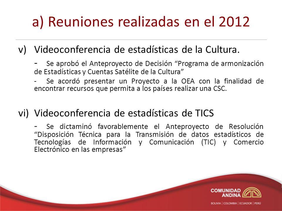 a) Reuniones realizadas en el 2012 v)Videoconferencia de estadísticas de la Cultura.