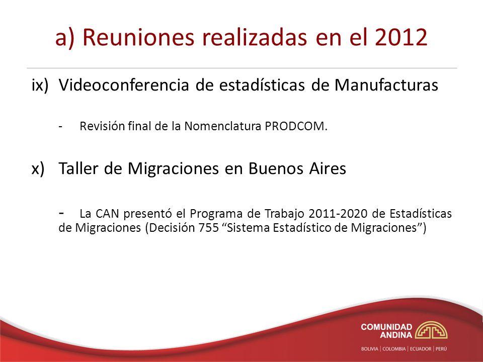a) Reuniones realizadas en el 2012 ix)Videoconferencia de estadísticas de Manufacturas -Revisión final de la Nomenclatura PRODCOM.