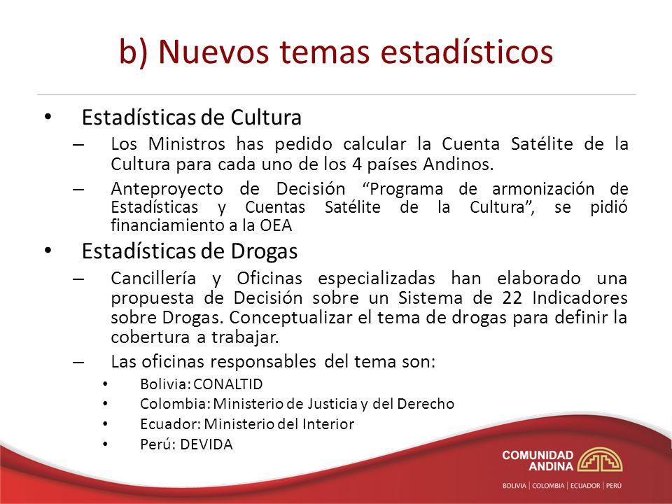b) Nuevos temas estadísticos Estadísticas de Cultura – Los Ministros has pedido calcular la Cuenta Satélite de la Cultura para cada uno de los 4 países Andinos.