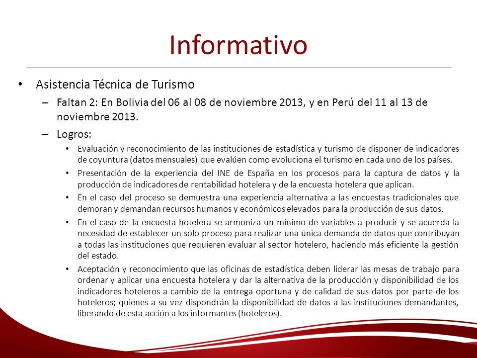 Informativo Asistencia Técnica de Turismo – Faltan 2: En Bolivia del 06 al 08 de noviembre 2013, y en Perú del 11 al 13 de noviembre 2013. – Logros: E