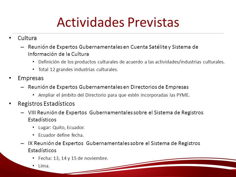 Actividades Previstas Cultura – Reunión de Expertos Gubernamentales en Cuenta Satélite y Sistema de Información de la Cultura Definición de los produc