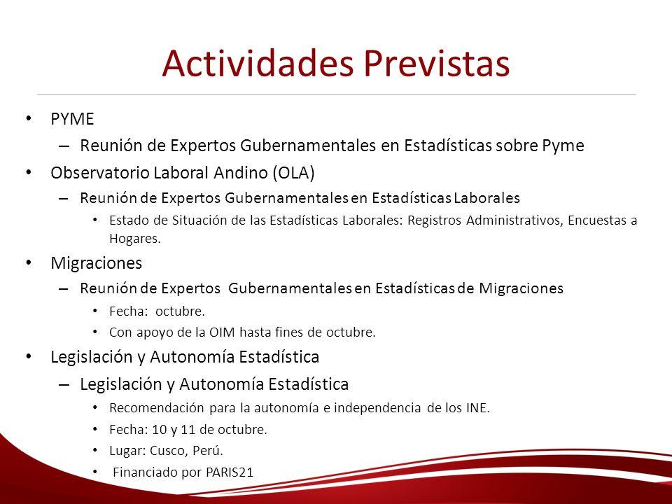 Actividades Previstas PYME – Reunión de Expertos Gubernamentales en Estadísticas sobre Pyme Observatorio Laboral Andino (OLA) – Reunión de Expertos Gu