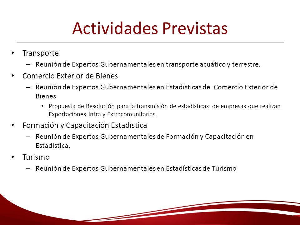 Actividades Previstas Transporte – Reunión de Expertos Gubernamentales en transporte acuático y terrestre. Comercio Exterior de Bienes – Reunión de Ex
