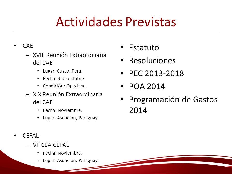 Actividades Previstas CAE – XVIII Reunión Extraordinaria del CAE Lugar: Cusco, Perú. Fecha: 9 de octubre. Condición: Optativa. – XIX Reunión Extraordi