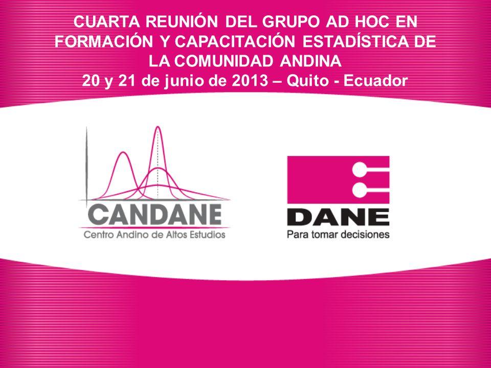 CUARTA REUNIÓN DEL GRUPO AD HOC EN FORMACIÓN Y CAPACITACIÓN ESTADÍSTICA DE LA COMUNIDAD ANDINA 20 y 21 de junio de 2013 – Quito - Ecuador