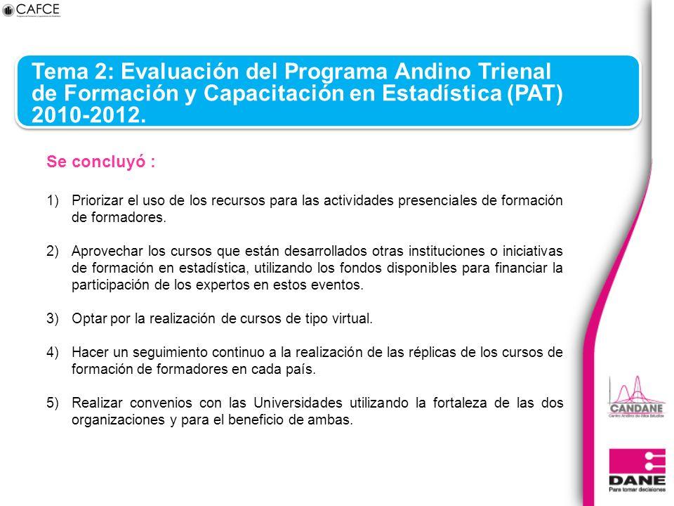 Tema 2: Evaluación del Programa Andino Trienal de Formación y Capacitación en Estadística (PAT) 2010-2012. Se concluyó : 1)Priorizar el uso de los rec