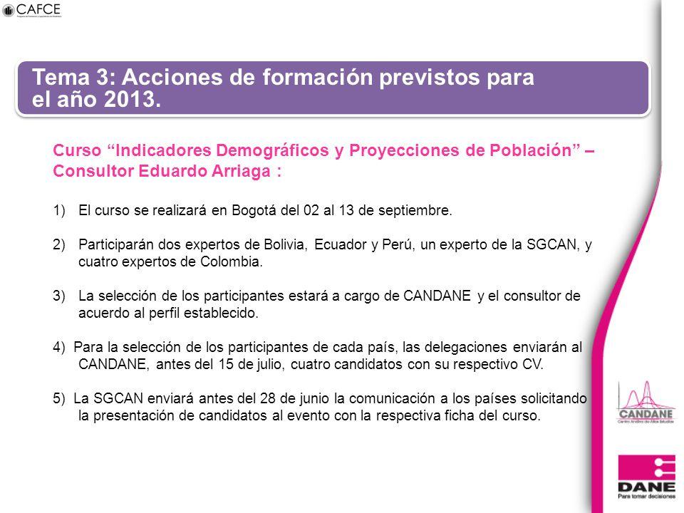 Tema 3: Acciones de formación previstos para el año 2013. Curso Indicadores Demográficos y Proyecciones de Población – Consultor Eduardo Arriaga : 1)E