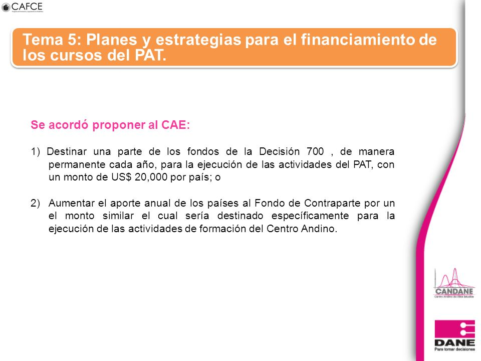 Tema 5: Planes y estrategias para el financiamiento de los cursos del PAT. Se acordó proponer al CAE: 1) Destinar una parte de los fondos de la Decisi