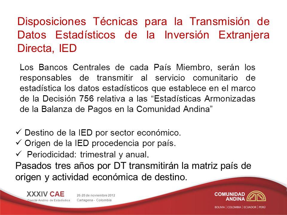Disposiciones Técnicas para la Transmisión de Datos Estadísticos de la Inversión Extranjera Directa, IED Los Bancos Centrales de cada País Miembro, se