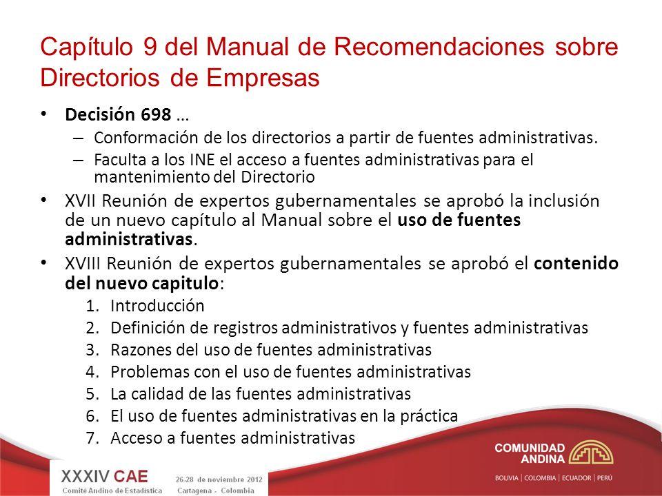 Capítulo 9 del Manual de Recomendaciones sobre Directorios de Empresas Decisión 698 … – Conformación de los directorios a partir de fuentes administra