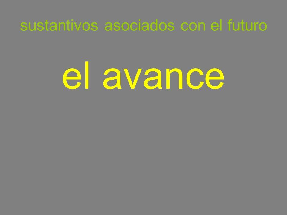 sustantivos asociados con el futuro el avance
