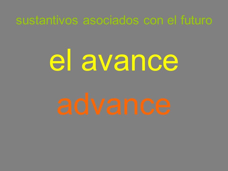 sustantivos asociados con el futuro el avance advance